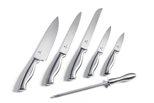 Ashlar Kitchen Knives - Set of 5 Best Commercial Grade Stainless Steel Dishwasher Safe Knives Without Knife Block