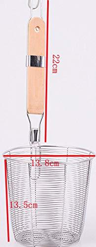 BIRD WORKS Stainless Steel Colander Noodle Dumplings mesh Basket for deep Fryer French Fries Dryer Vegetable Frying Basket Sink Strainer 138cm Diameter