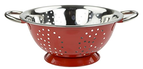 Home Basics Stainless Steel Deep Colander Strainer with Handles 5 Quart Red