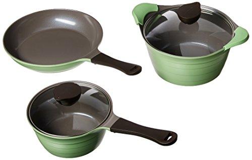 Neoflam Eela 5-Piece Ceramic Nonstick Cookware Set Apple Green