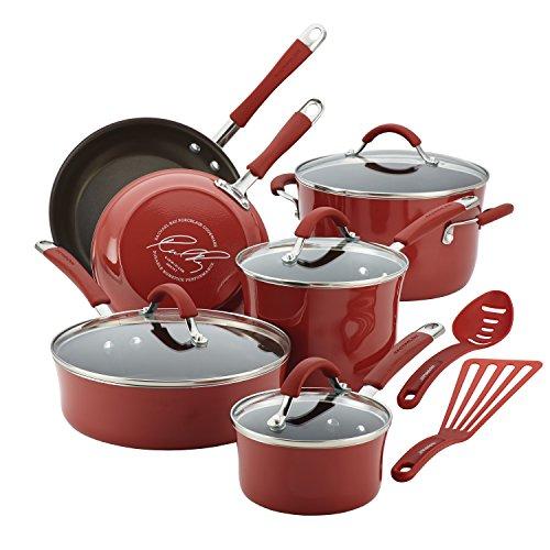 Rachael Ray Cucina Hard Porcelain Enamel Nonstick Cookware Set 12-Piece Cranberry Red