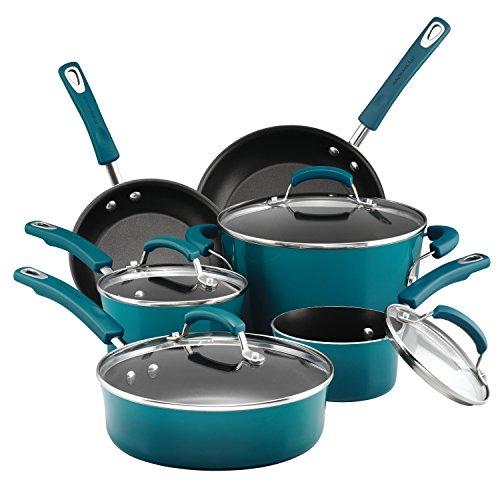 Rachael Ray Hard Porcelain Enamel Nonstick Cookware Set 10-Piece Marine Blue