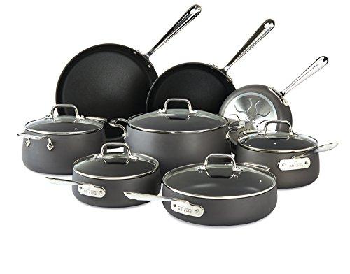 All-Clad E785SB64 HA1 Hard Anodized Nonstick Cookware Set Pots and Pans Set 13 Piece Black