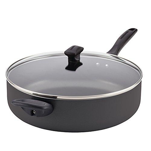 Farberware 21981 Dishwasher Safe Nonstick  Jumbo CookerSaute Pan with Helper Handle - 6 Quart Black
