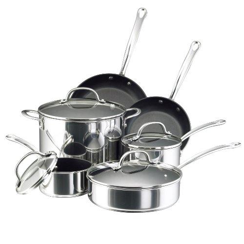Farberware 75655 Millennium Cookware Pots and Pans Set 10 Piece Stainless Steel Nonstick
