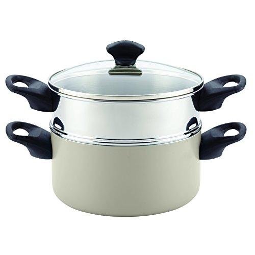 Farberware 21985 Dishwasher Safe Nonstick Sauce PotSaucepot  with Steamer Insert - 3 Quart Silver
