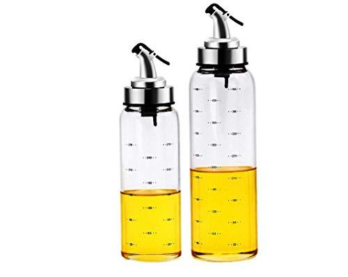 Glass leak-proof oil pot seasoning kitchen soy sauce pot Olive oil and vinegar seasoning bottle dispenser with elegant glass bottle 2-PCS 270ml 450ml