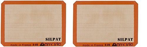 Silpat AE420295-07 Premium Non-Stick Silicone Baking Mat Half Sheet Size 11-58-Inch x 16-12-Inch 2 pack