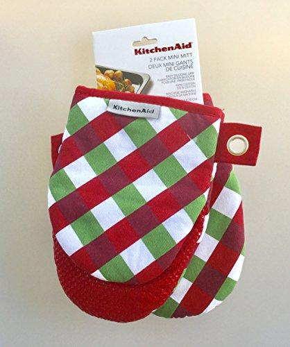 KitchenAid Mini Oven Mitt Set - 2 Pack- Christmas Plaid Red Green White