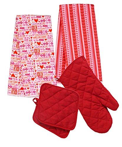 Valentines Day Conversation Hearts Kitchen Towels Potholders Mitt 5 pc Holiday Decoration Bundle