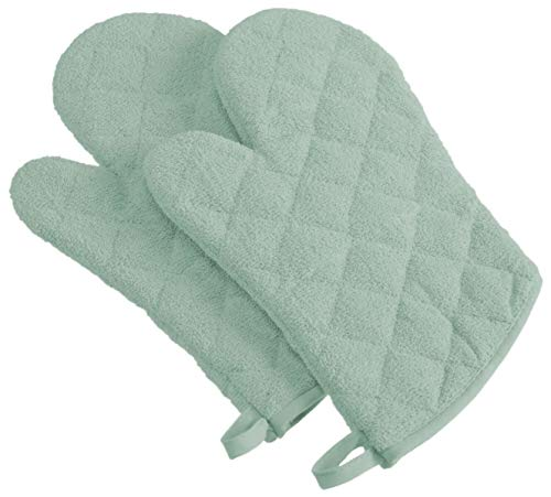 CC Home Furnishings Set of 2 Light Sage Terry Cloth Oven Mitts 13