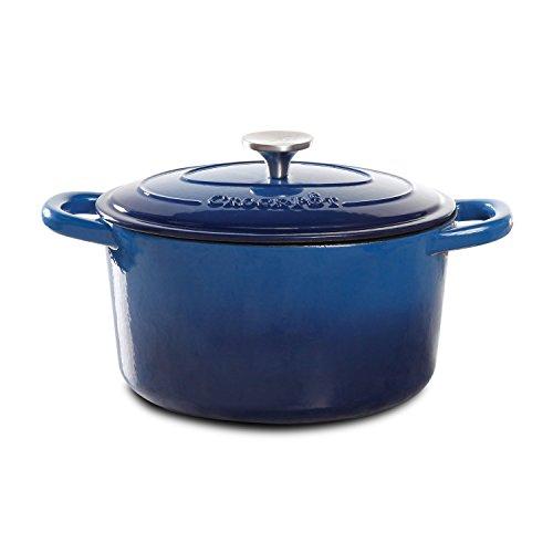 Crock Pot 10947102 Artisan Round Cast Iron Dutch Oven with Non-Stick Surface 5 Quart Denim Blue