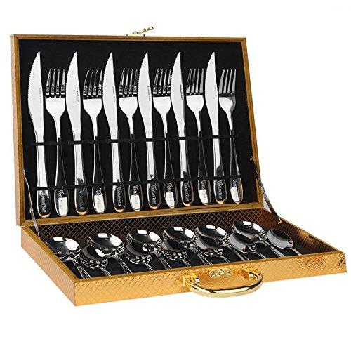 HUIRUI Flatware Sets Stainless Steel Silverware Cutlery Set 24pcs Kitchen Flatware Tableware Dinnerware Set Gift Box Package Utensil Set
