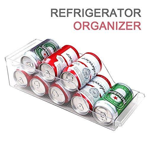 ilikable Fridge Organizer Bins Home Pantry Refrigerator Soda Can Storage Holder Kitchen Flatware Utensils Food Egg Holder Tray BPA-free Cabinet Drawer Organizer - Clear