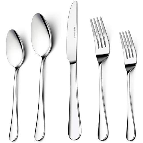 40-Piece Silverware Set Umite Flatware 188 Cutlery Set Fit for HomeHotelRestaurant Service for 8 Mirror Polished Anti-rust Dishwasher Safe