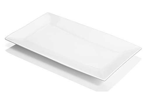 DOWAN 14-inch Porcelain Serving PlattersDinner Plate Set - 3 Packs White Rectangular