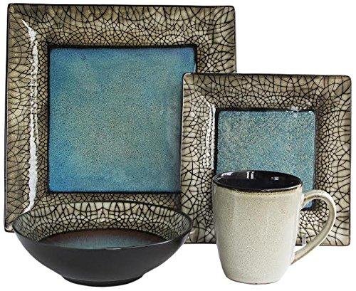 American Atelier 5664-16 Via Roma 16 Piece Square Dinnerware Set 11x11 Blue