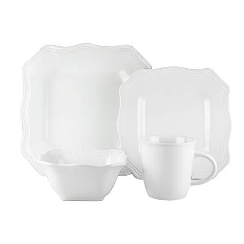 American Atelier 7220-16-RB Felicia 16 Piece Square Dinnerware Set 11x11 White