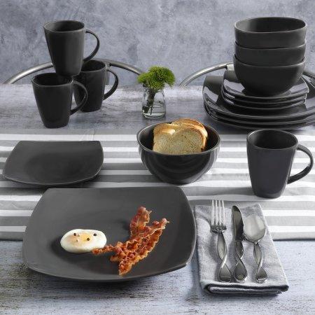 Contemporary Soho Lounge Square Stoneware Geometric Pattern 16-piece Dinnerware Set gray