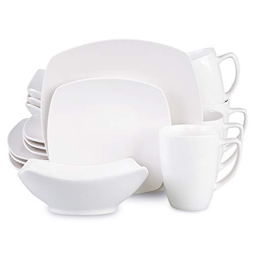 Cutiset 16-Piece Porcelain Square Dinnerware Set Kitchen Dinner Set with Dinner Plates Dessert Plates Soup Bowls Mugs Service for 4