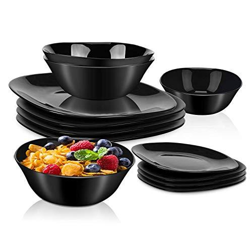 DANMERS 12-Piece Dinnerware Set Black Kitchen Dinner Set Service for 4 Square Glass Plates Bowls Set Crack Resistant