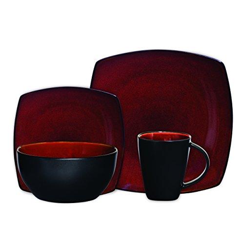 Gibson Elite Soho Lounge 16-Piece Square Reactive Glaze Dinnerware Set Red