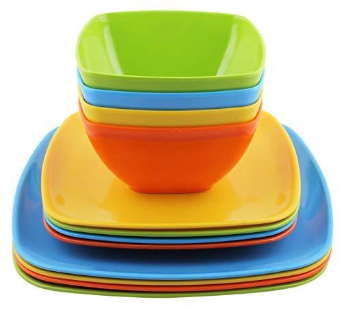 Melange 12-Piece 100 Melamine Square Dinnerware Set Squares SolidShatter-Proof and Chip-Resistant Melamine Square Plates and BowlsDinner Plate Salad Plate Soup Bowl 4 EachMulti-Color