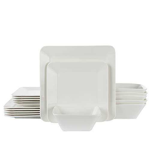 Porlien 18-Piece Dinnerware Set Pure White Square Service for 6