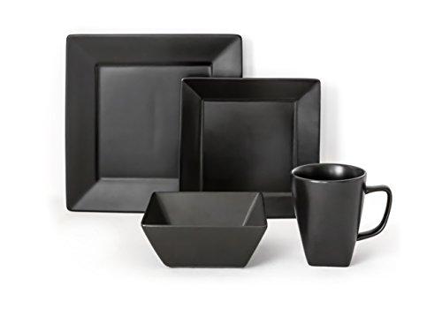 overandback 812219 Hard Square 16pc Dinnerware Set Service for 4 Black