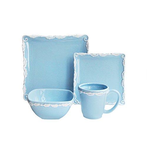 American Atelier 16 Piece Bianca Wave Square Dinnerware Set Blue
