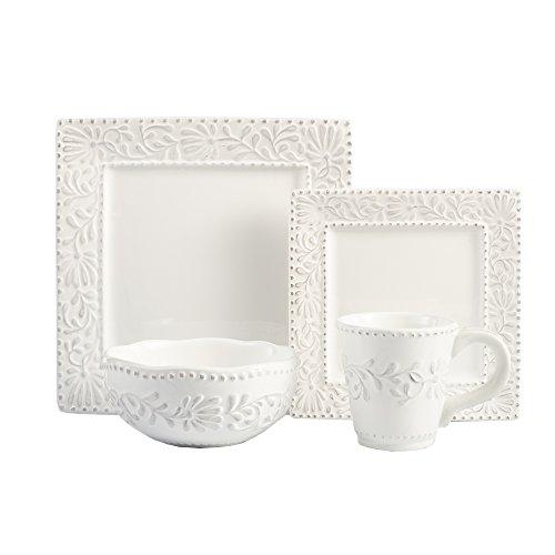 American Atelier Bianca Leaf 16-Piece Square Dinnerware Set