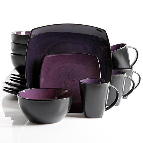 Gibson Soho Lounge 16-Piece Square Reactive Glaze Dinnerware Set Purple
