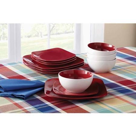 Mainstays 12-Piece Medium Square Dinnerware Set Red Sedona