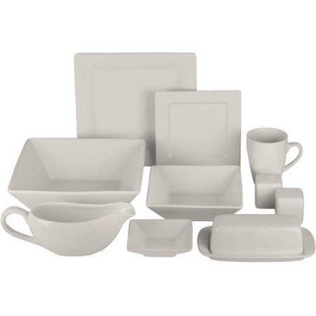 Nova 24-Piece Square Dinnerware Set Plus 10 Bonus Serving Pieces Cream