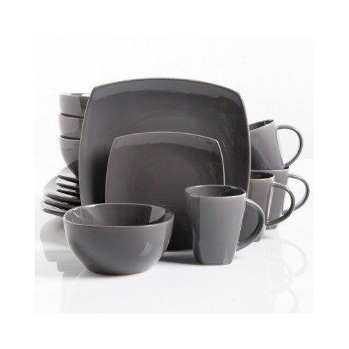 Square Dinnerware Service for 8 Plates Bowls Mugs 32-Piece Set Modern Gray