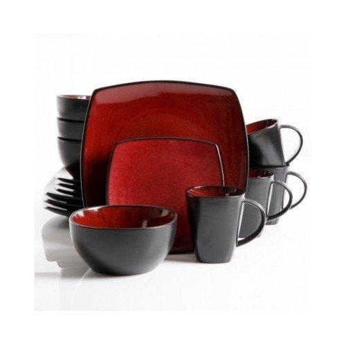 Square Dinnerware Service for 8 Plates Bowls Mugs 32-Piece Set Modern Red Black