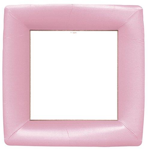 Entertaining with Caspari Grosgrain Square Dinner Plates 8 Pack Light Pink