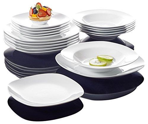 Malacasa 18 Piece Series Elisa  Porcelain Dinnerware Set With 6-Piece Dessert Soup Plates And Dinner Plates Service Ivory White
