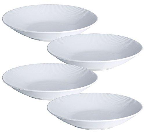 YHY 96-inch30OZ Porcelain Serving Bowls White PastaSalad Bowls Set Wide Shallow Set of 4 - Stripe Pattern