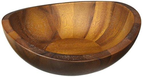 Nambé MT0893 Braid Glass Salad Bowl with Servers Brown