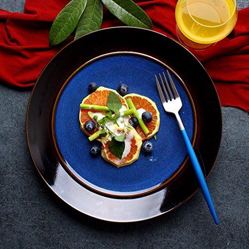 Blue Ceramic Fruit Salad Bowl Plate Japanese Tableware Household Big Round Plate Steak Plate Ramen Dinner Plate