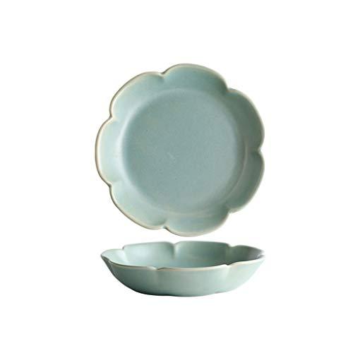 Nordic Style Simple Lace Ceramic Dessert Bowl Plate Rice Soup Salad Bowl Color  Green Size  Plate-147x147x29cm