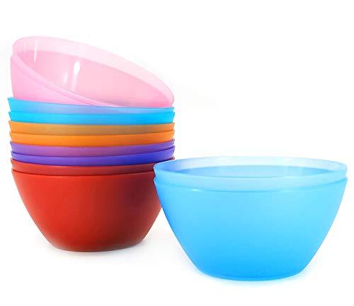 28-ounce Plastic Bowls Unbreakable and Reusable Cereal Bowls Soup Bowls Salad Bowls Set of 12 Multicolor