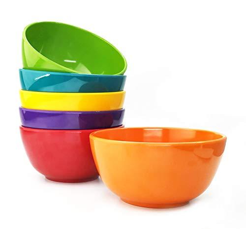Melamine Bowls set - 28oz 6inch 100 Melamine CerealSoupSalad Bowls Set of 6 in 6 Assorted Colors  Shatter-Proof and Chip-Resistant Dishwasher Safe BPA Free