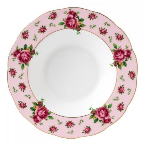 Royal Albert New Country Roses Formal Vintage Rimmed SoupSalad Bowl 11-Inch Pink