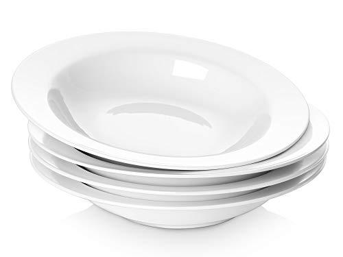 Y YHY 20 Ounces Porcelain Pasta Soup Salad Bowls 95 Inches Wide Rim Bowl Set White Set of 4