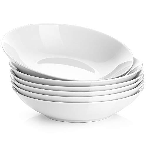 Y YHY 22 Ounces Porcelain Salad Pasta Bowls Soup Bowl Set Shallow and White Set of 6