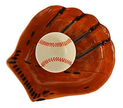 Gift For Baseball Fan-Chip Dip Ceramic Serving Dish Bowl Decorative Bowl Baseball Gift Serving Platter ChipDip Baseball Glove Shape