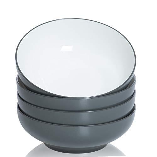 TGLBT SaladSoup Bowls 4-Pack-40 Ounce Big Stackable Round Fine Porcelain Pasta Bowl Serving SetNavy gray