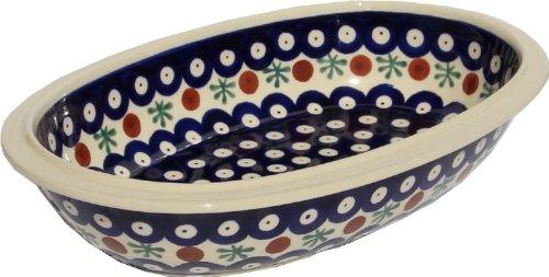 Polish Pottery Oval Serving Dish From Zaklady Ceramiczne Boleslawiec 278-41 Classic Pattern Length 975 Width 625 Depth 2